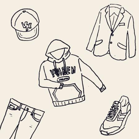 服の置き絵のイラスト